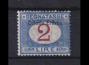 Italienisch-Eritrea 1903 Portomarke Aufdruck oben 2 Lire Mi.-Nr. 9 I ungebr. *