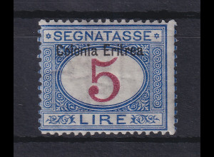 Italienisch-Eritrea 1903 Portomarke Aufdruck oben 5 Lire Mi.-Nr. 10 I ungebr. *