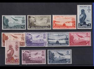 Italienisch-Ostafrika 1938 Flugpostmarken Mi.-Nr. 21-31 Satz kpl. ungebraucht *