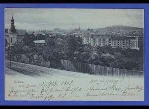 AK Österreich Gruß aus Brünn, Spielberg gelaufen 1902