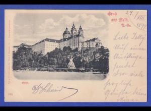 AK Österreich Gruß aus Melk (Stift) gelaufen 1899