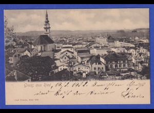 AK Österreich Gruß aus Ried gelaufen 1902
