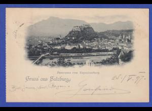 AK Österreich Gruß aus Salzburg Panorama Kapuzinerberg gelaufen 1897