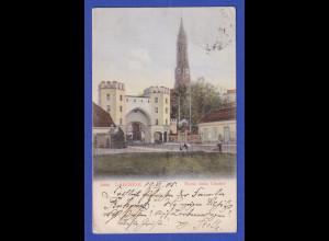 AK Bayern Landshut Partie beim Ländtor gelaufen 1905 nach Metz