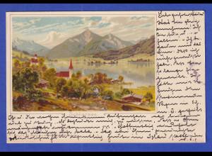 AK Bayern Schliersee Künstlerkarte beschriftet (aber nicht gelaufen)