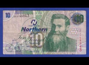 Banknote Nordirland Ten Pounds Sterling Northern Bank 2005 gebraucht