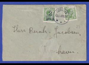 Färöer-Inseln Aushilfsausgabe 1919, Mi.-Nr. 1 auf Brief mit DK Nr. 67
