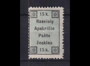 Lietuva / Litauen 1919 Lokalausgabe Raseiniai Mi.-Nr. 1 ungebraucht *