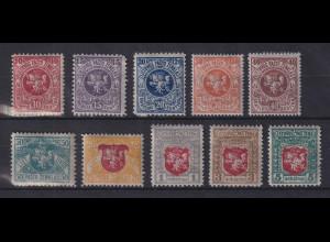 Lietuva / Litauen 1919 Wappenzeichnung 2. Berliner Ausg. Mi.-Nr. 30-39 kpl. *