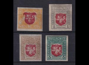 Lietuva / Litauen 1919 Wappenzeichnung 2. Berliner Ausg. Mi.-Nr. 36-39 U *