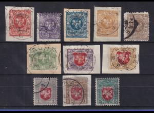 Lietuva / Litauen 1919 Wappenzeichnung 3. Berliner Ausg. Mi.-Nr. 50-60 kpl. O