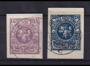Lietuva / Litauen 1920 Freimarken Wappen Mi.-Nr. 61-62 B gestempelt