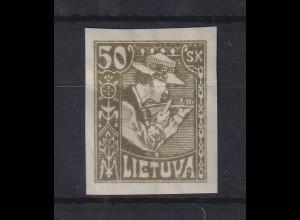 Lietuva / Litauen 1921 Freimarke 50Sk UNGEZÄHNT Mi.-Nr. 92 U ungebraucht *