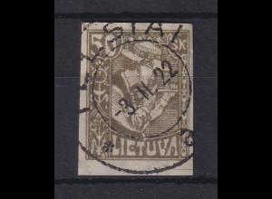 Lietuva / Litauen 1921 Freimarke 50sk oliv UNGEZÄHNT Mi.-Nr. 92 U gestempelt