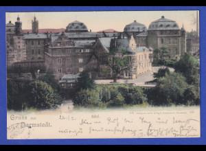 AK Gruss aus Darmstadt Schloß gelaufen 1900