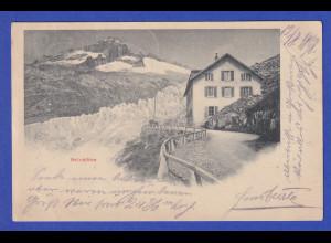 AK Schweiz Aletschgletscher Belvedere gelaufen 1898
