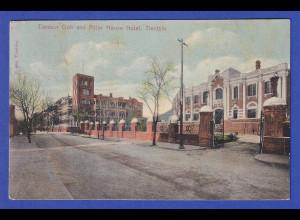 AK China Tientsin Club and Astor House Hotel gelaufen um 1900 nach Mähren