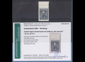 Dt. Besetzung 2.WK Sudetenland Rumburg Mi.-Nr. 50 ** gpr. Befund Brunel VPP