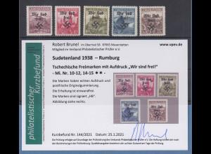 Dt. Besetzung 2.WK Sudetenland Rumburg Mi.-Nr. 10-12, 14-15 ** Befund Brunel VPP