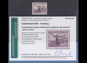Dt. Besetzung 2.WK Sudetenland Rumburg Mi.-Nr. 17 ** mit Befund Brunel VPP