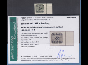 Dt. Besetzung 2.WK Sudetenland Rumburg Mi.-Nr. 35 I ** mit Befund Brunel VPP