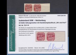 Dt. Besetzung 2.WK Sudetenland Reichenberg Mi.-Nr. 78 Paar ** Befund Brunel VPP