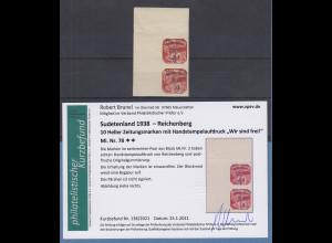 Sudetenland Reichenberg Mi.-Nr. 78 Eckranpaar OL ** mit Befund Brunel VPP