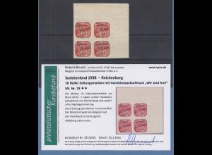 Sudetenland Reichenberg Mi.-Nr 78 Eckrandviererblock OR ** mit Befund Brunel VPP