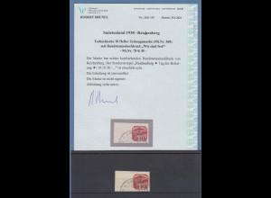 Sudetenland Reichenberg Mi.-Nr 78 K Seitenrandstück O mit Attest Brunel VPP