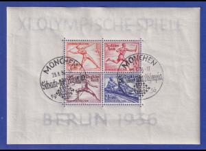 Deutsches Reich Olympia-Blockpaar mit seltenem Sonder-O MÜNCHEN Schach-Olympia