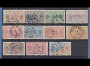 Schweden 1881 Dienstmarken gez. 13 Mi.-Nr. 1-11 B Satz kpl. gestempelt