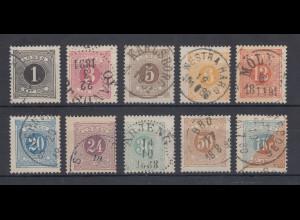 Schweden 1877-91 Portomarken gez. 13 Mi.-Nr. 1-10 B Satz kpl. gestempelt