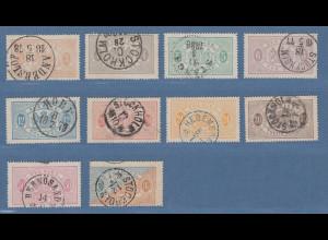 Schweden 1874 Dienstmarken in enger 14er-Zähnung Mi.-Nr. 1-11A kpl. Satz gest.