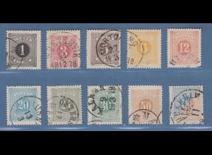 Schweden 1874 Portomarken in enger 14er-Zähnung Mi.-Nr. 1-10A kpl. Satz gest.