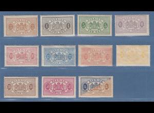 Schweden 1881 Dienstmarken in B-Zähnung 13 Mi.-Nr. 1-11B Satz kpl. ungebraucht *