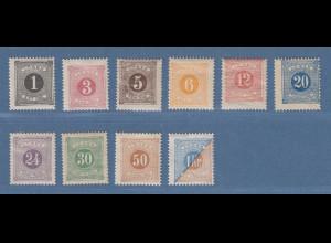 Schweden 1877 Portomarken in B-Zähnung 13 Mi.-Nr. 1-10B Satz kpl. ungebraucht *