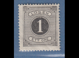 Schweden 1874 Portomarke 1 Öre schwarz gez.14 Mi.-Nr. 1A ungebraucht *