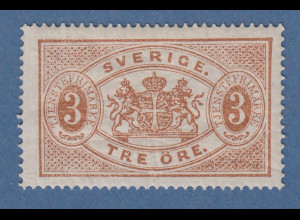 Schweden 1874 Dienstmarke 3 Öre hellbraun gez.14 Mi-Nr. 1A ungebraucht *