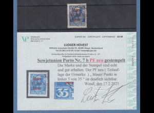 Sowjetunion Portomarke 35K Mi-Nr 7b mit neu-entdeckdem Plattenfehler Punkt in 35