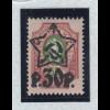 Russland 1922 Freimarke mit Aufdruck Sowjetstern 30R Mi.-Nr. 204 A IId ** Attest