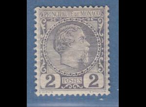 Monaco 1885 Freimarke Fürst Charles III. 2 C. Mi.-Nr. 2 ungebraucht
