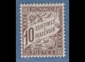Monaco 1909 seltene Portomarke 10 C. dunkelbraun Mi.-Nr. 7 ungebraucht *