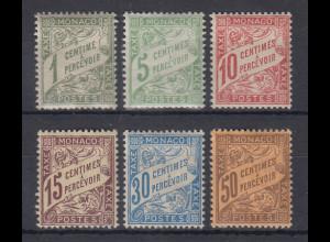 Monaco 1904 Portomarken Mi.-Nr. 1-6 kpl. Satz ungebraucht *