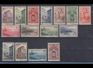 Monaco 1940 Freimarken mit Zuschlag Rotes Kreuz Mi-Nr. 205-19 Satz postfrisch **