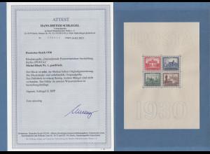 Deutsches Reich Blockausgabe IPOSTA 1930, postfrisch mit Fotoattest Schlegel BPP