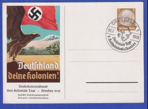 Dt. Reich Sonderganzsache Deutschland, deine Kolonien Dresden 1938 mit So.-O