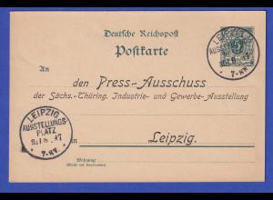 Dt. Reich Privat-Ganzsache Industrie-Ausstellung Leipzig 1897 mit Sonder-O