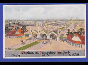 Dt. Reich Postkarte 12. Deutsches Turnfest Leipzig Festplatz 13.7. 1913 gelaufen