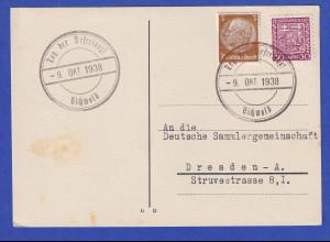 Dt. Besetzung Sudetenland Postkarte mit So.-O Tag der Befreiung Eichwald