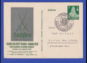Dt. Reich 1938 Sonder-Ganzsache Sachsen am Werk mit So.-O DRESDEN
